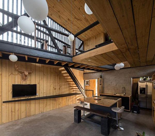 Thiết kế nhà phố bằng gỗ độc đáo với hai khối hộp chữ nhật chéo nhau tại Chile - ảnh 3