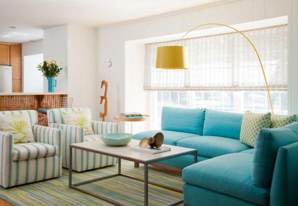 Gam màu xanh pastel cho thiết kế phòng khách