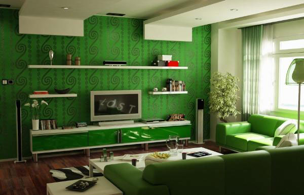 Gam màu xanh lá cho thiết kế phòng khách